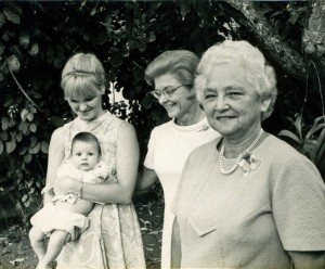 Myself (baby), my mother, grandmother and great-grandmother.
