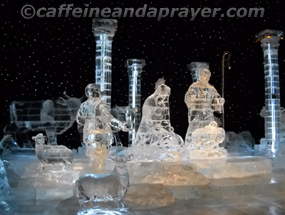 Nativity made of ice.